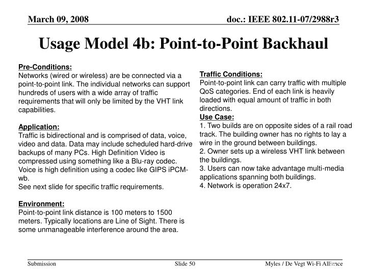 Usage Model 4b: Point-to-Point Backhaul