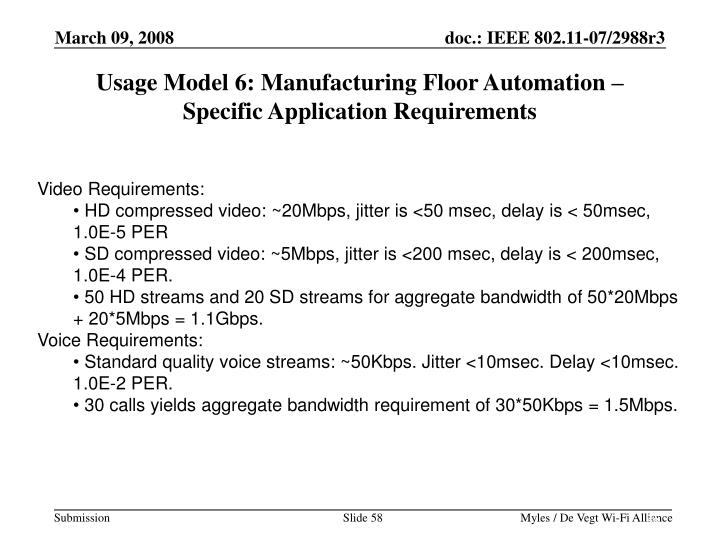 Usage Model 6: Manufacturing Floor Automation –
