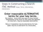 steps in constructing a search itac method issue terms alternatives connectors1