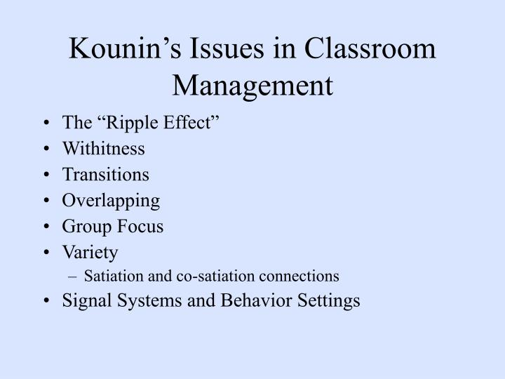 Kounin's Issues in Classroom Management