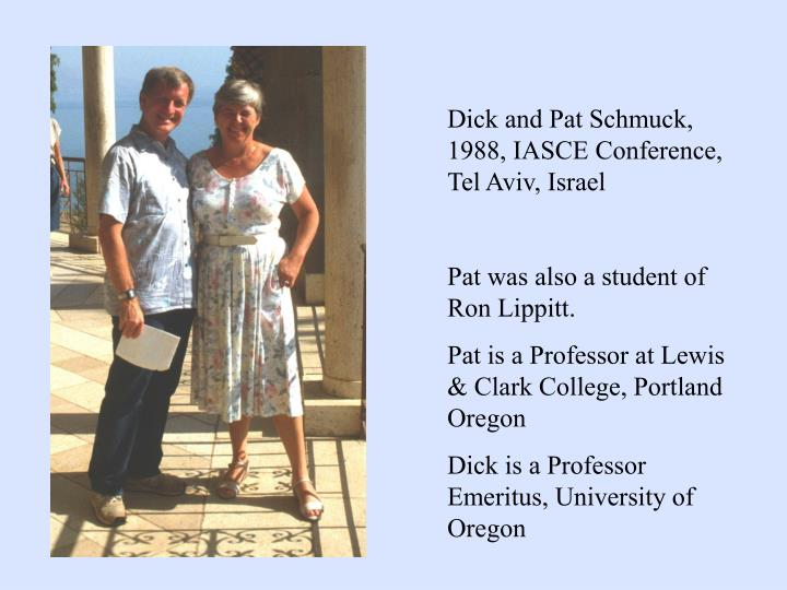 Dick and Pat Schmuck, 1988, IASCE Conference, Tel Aviv, Israel