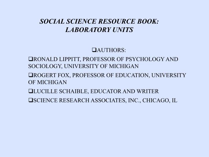 SOCIAL SCIENCE RESOURCE BOOK: