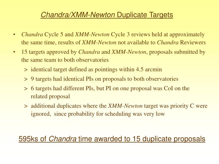 Chandra xmm newton duplicate targets