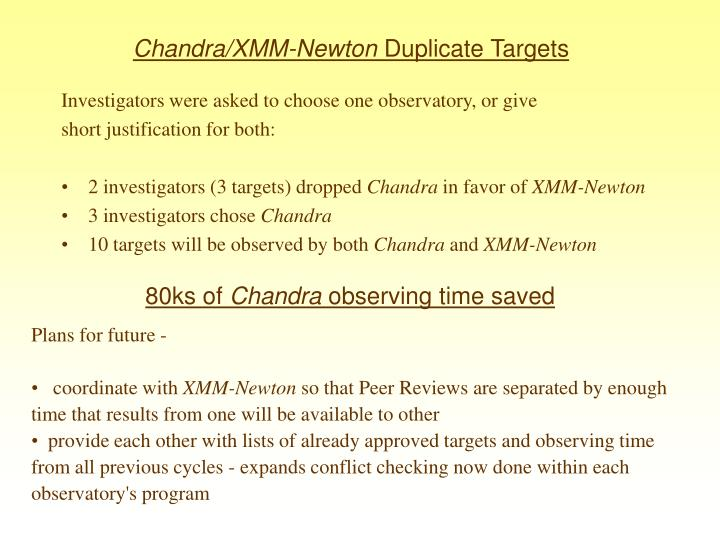Chandra xmm newton duplicate targets1