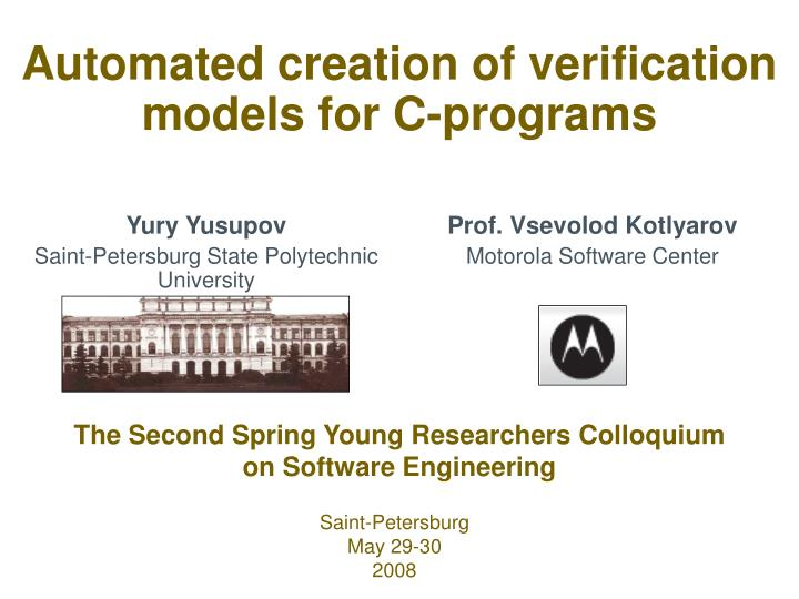 automated creation of verification models for c programs n.