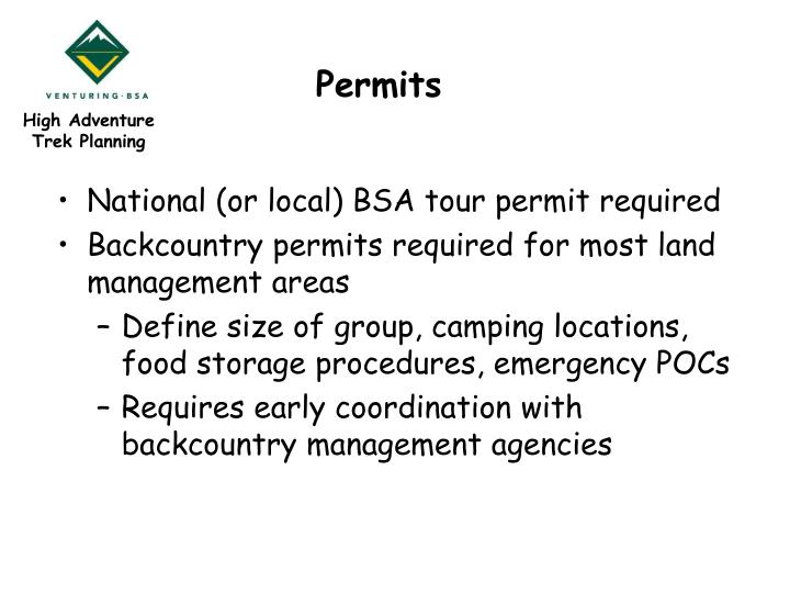 Bsa National Tour Permit