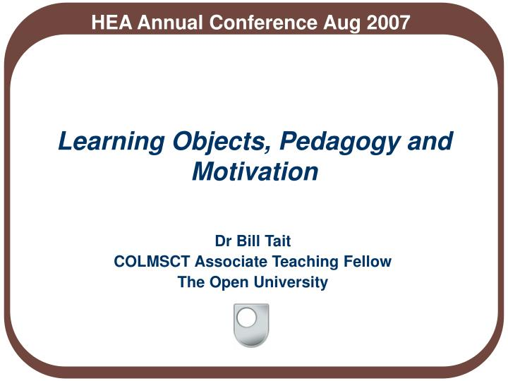 learning objects pedagogy and motivation