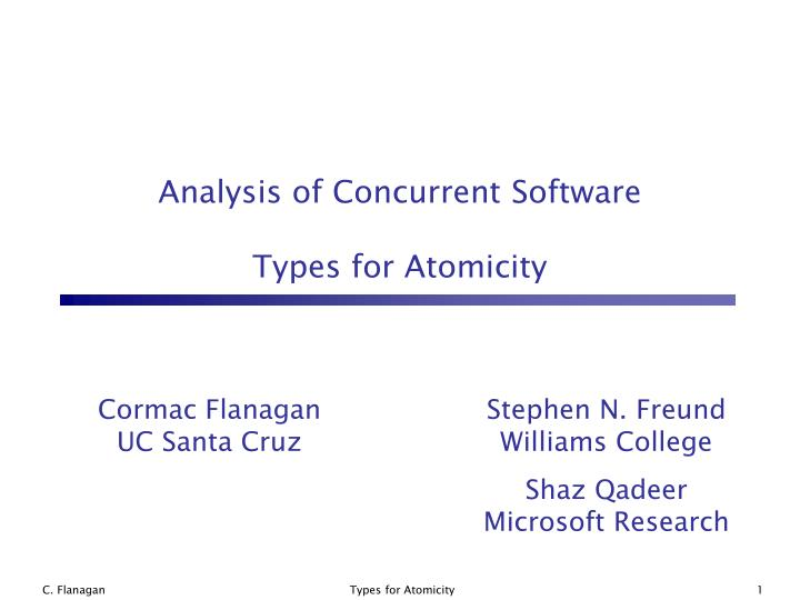 analysis of concurrent software types for atomicity n.