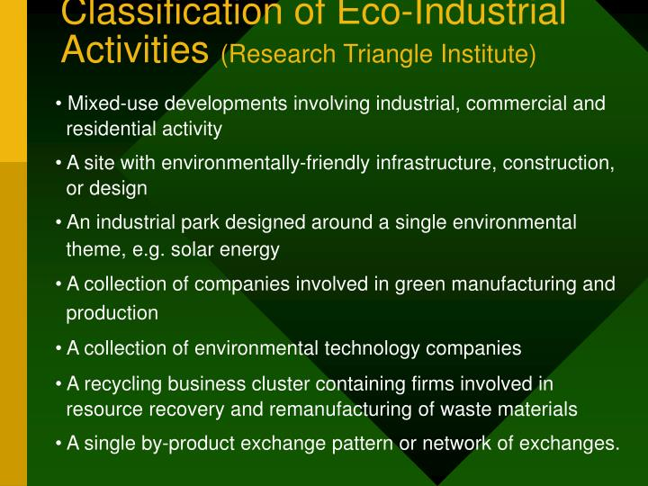 Classification of Eco-Industrial Activities