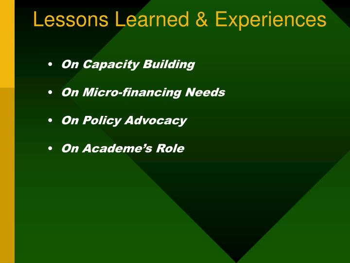 Lessons Learned & Experiences