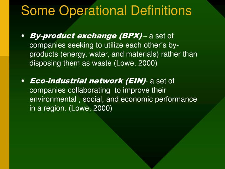 Some Operational Definitions