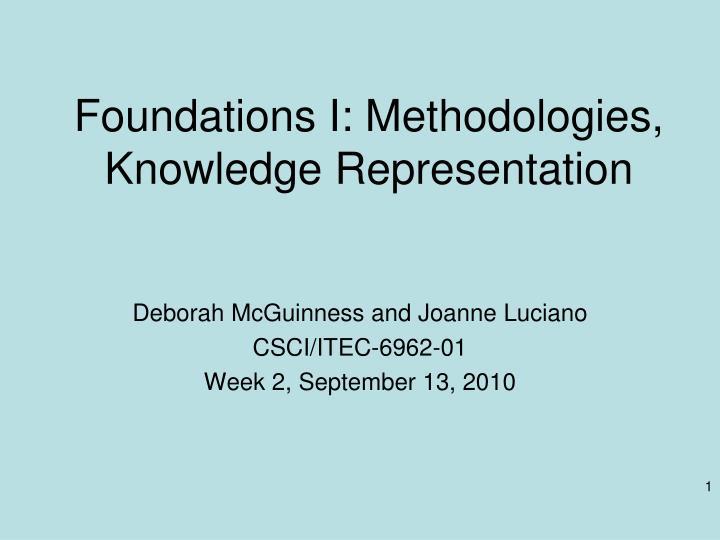 foundations i methodologies knowledge representation n.