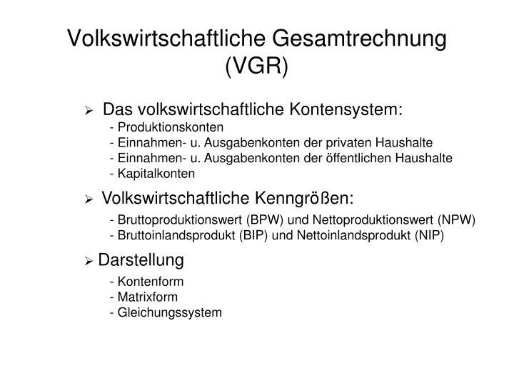 volkswirtschaftliche gesamtrechnung vgr n.