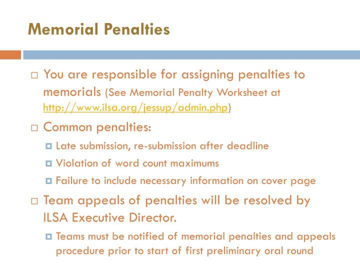 Memorial Penalties