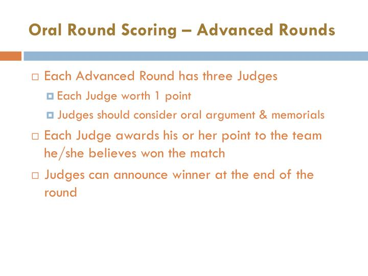 Oral Round Scoring – Advanced Rounds