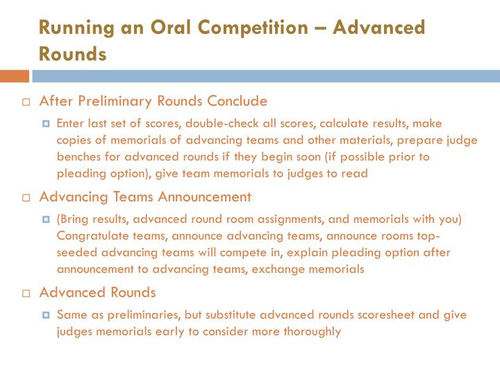 Running an Oral Competition – Advanced Rounds