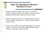 stage two reading for pleasure reading to learn