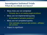 investigator initiated trials what do we think we know