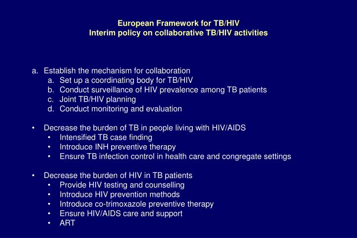 European Framework for TB/HIV