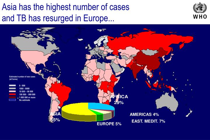 Asia has the highest number of cases