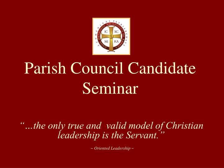 parish council candidate seminar n.