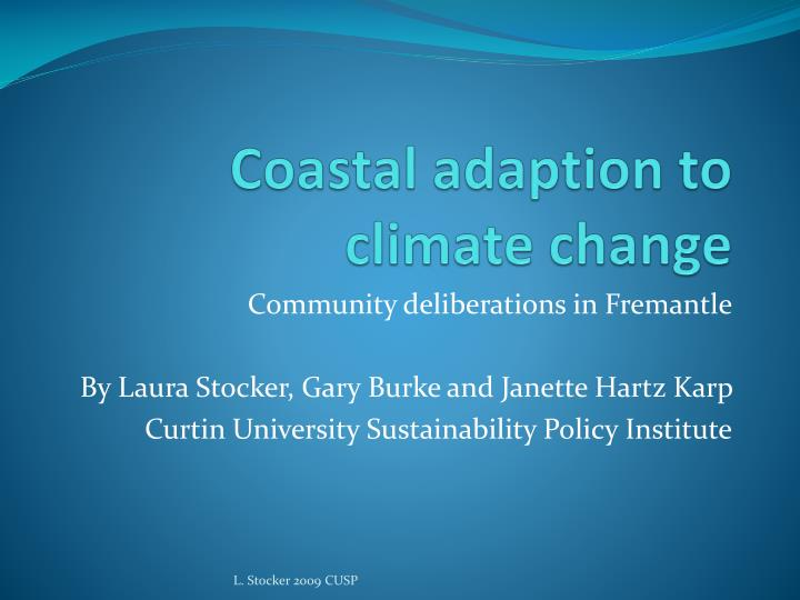 coastal adaption to climate change n.