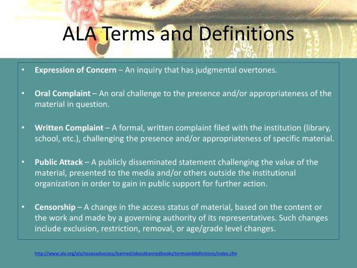 ALA Terms and Definitions