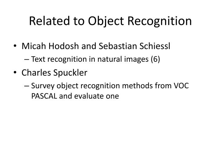 Related to Object Recognition