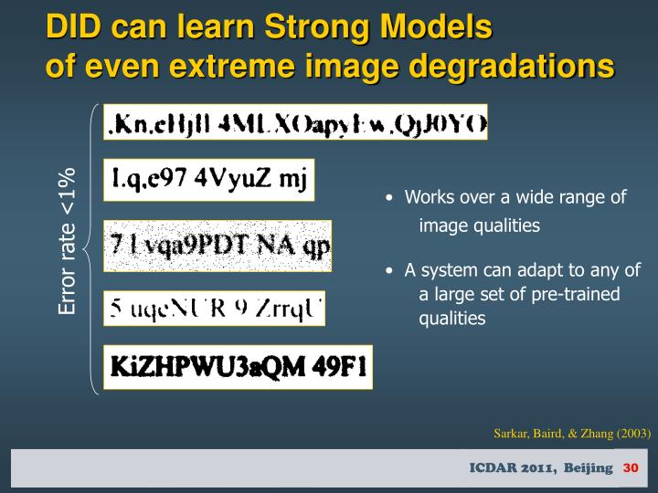 DID can learn Strong Models