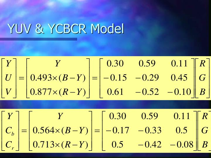 YUV & YCBCR Model