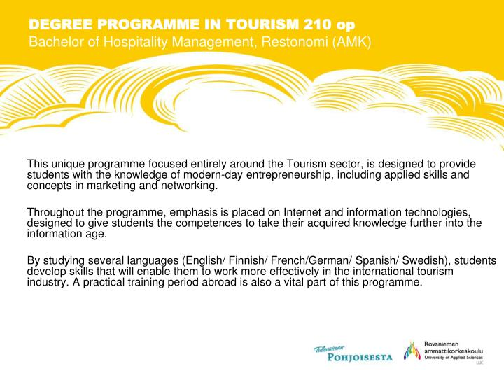 DEGREE PROGRAMME IN TOURISM 210 op