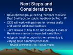 next steps and considerations