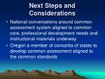next steps and considerations1