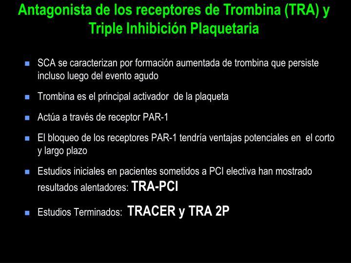 Antagonista de los receptores de Trombina (TRA) y Triple Inhibición Plaquetaria