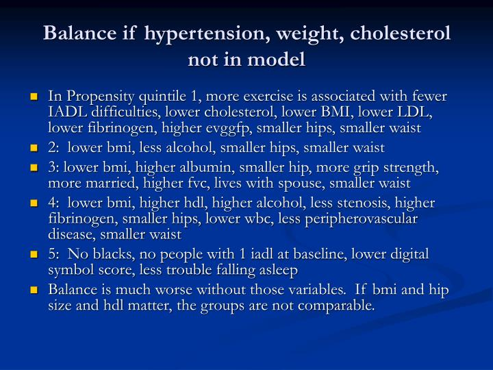 Balance if hypertension, weight, cholesterol not in model