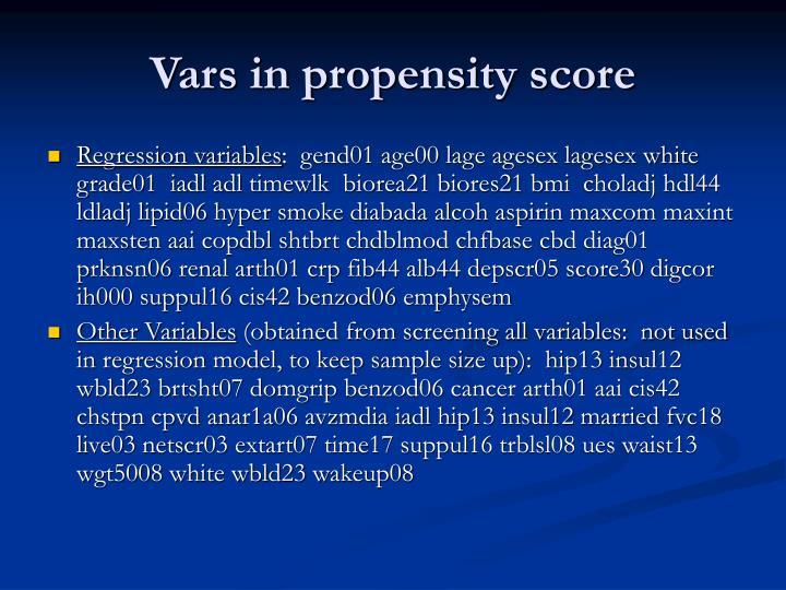Vars in propensity score