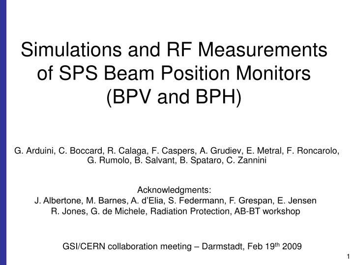 Simulations and rf measurements of sps beam position monitors bpv and bph