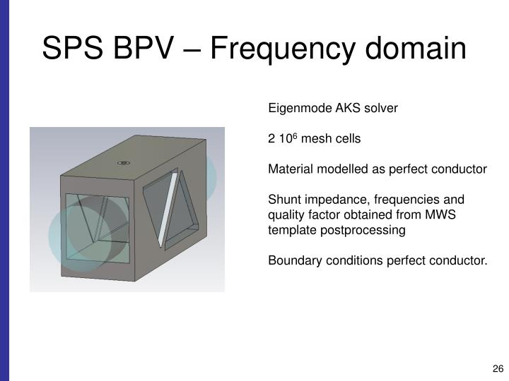 SPS BPV – Frequency domain