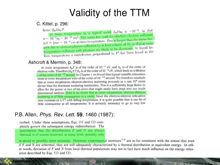 Validity of the TTM