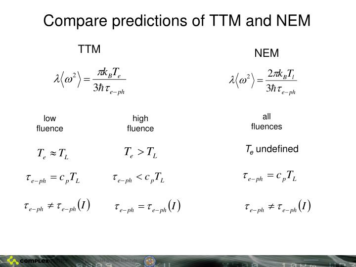 Compare predictions of TTM and NEM