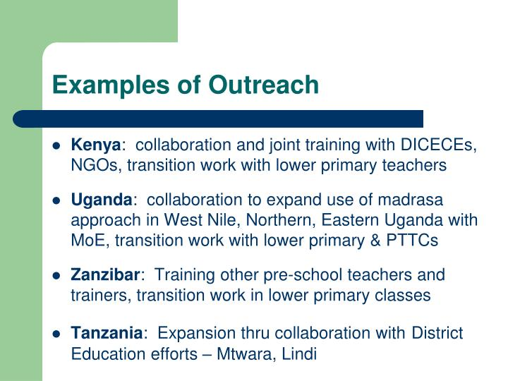 Examples of Outreach