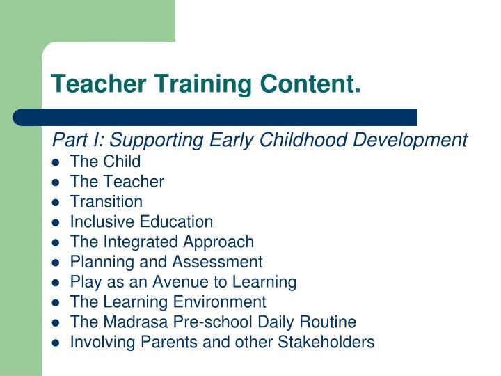 Teacher Training Content.