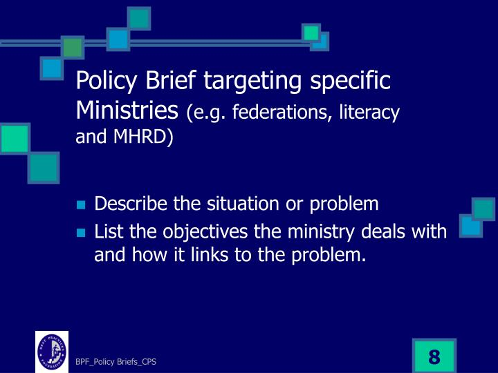 Policy Brief targeting specific Ministries