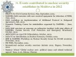 31 events contributed to nuclear security establishes in moldova in 2012