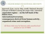 7 major risks on national security
