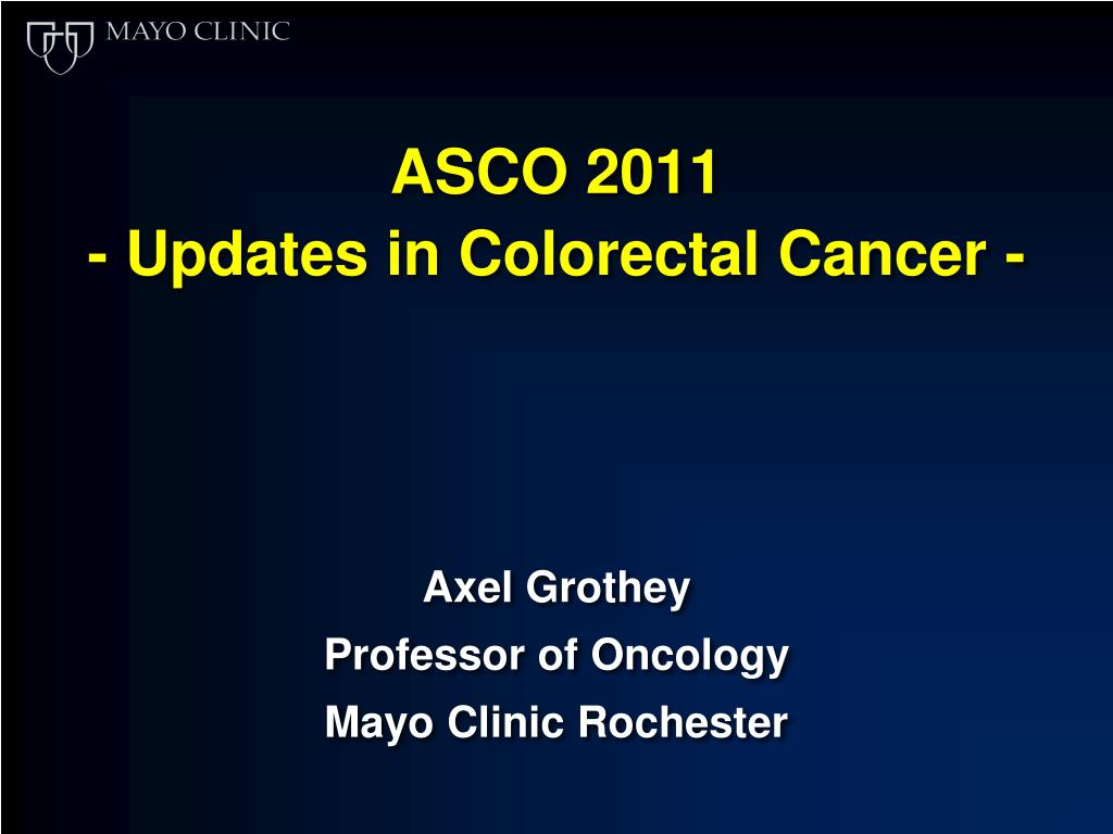 Ppt Asco 2011 Updates In Colorectal Cancer Powerpoint Presentation Id 3397715
