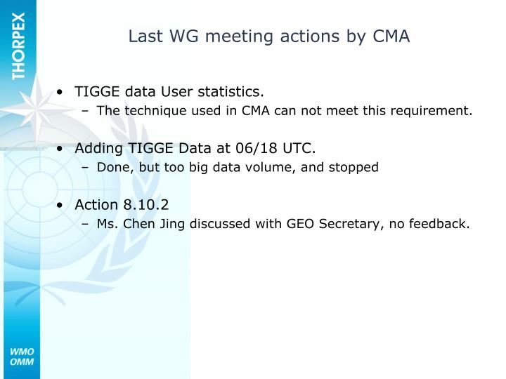 Last WG meeting actions by CMA