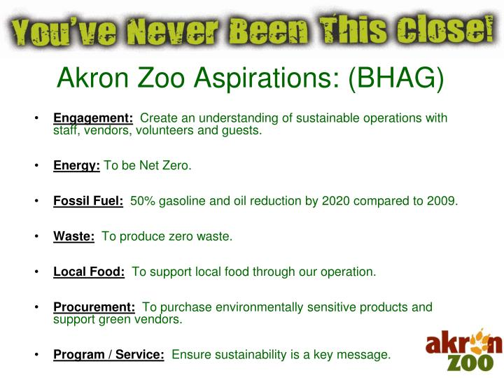 Akron Zoo Aspirations: (BHAG)