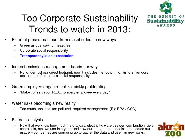 Top corporate sustainability trends to watch in 2013