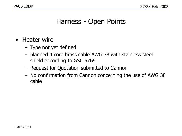 Harness - Open Points